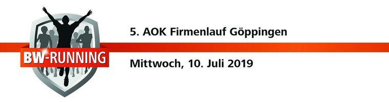 5. AOK Firmenlauf Göppingen am Mittwoch, 10. Juli 2019 - Start: 18:30 Uhr - Dr.-Heinrich-Zeller-Stadion